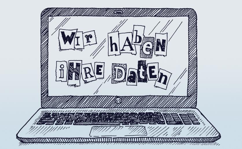 """Satz """"Wir haben Ihre Daten"""" auf Laptop-Bildschirm"""